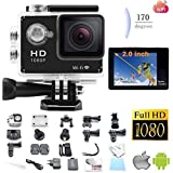 Legazone 1080P WIFI Sports Camera with 2.0Inch LCD Display 12MP Wide Angle+ Full HD Micro Hdmi with 900mAh Rechargeable Battery Underwater 30m