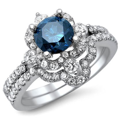1.24Ct Fancy Blue Round Diamond Engagement Ring Bridal Set 18K White Gold With A .65Ct Center Diamond And .90Ct Of Surrounding Diamonds
