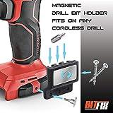 BITFIX Bit holder magnetic drill bits holder screw holder universal tool holder mounts easily on cordless drill machine (Color: Black)