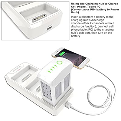 Smatree Multifunction Battery Charging Hub for DJI Phantom 4 Quadcopter (Discharge Function Convert Phantom 4 battery to a Power Bank)