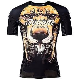 Tatami Lion Short Sleeve Rash Guard - Black - Large
