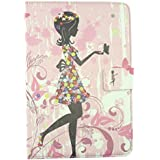 Emartbuy® BSNL Penta T-Pad WS1001Q Tablet 10 Inch Universal Range Pink Flower Girl Multi Angle Executive Folio Wallet Case Cover With Card Slots + Stylus