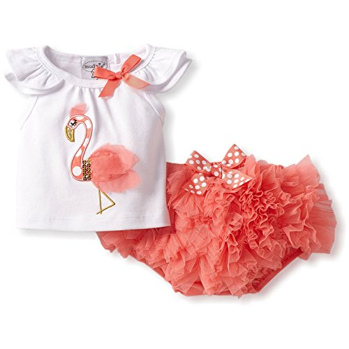 Mud Pie Infant Flamingo Diaper Cover Set (White & Coral, 6-9 Months) front-495887