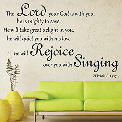 Zephaniah 3:17 Scripture Bible Wall Verse The Lord Your God Is With