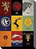 Game Of Thrones - Wappen Der Großen Häuser, In Englisch Poster Leinwandbild Auf Keilrahmen (40 x 30cm)