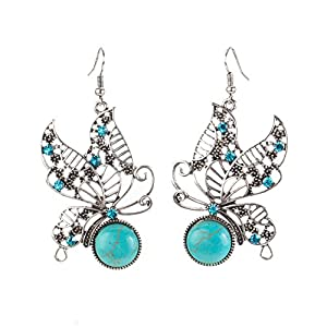 Beautiful Exquisite Earrings Pair In Anti Silver Colour And Butterflies Shapes With Inlaid Turquoise Stones Gems By VAGA©