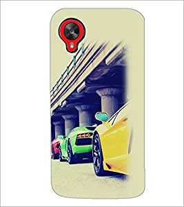 PrintDhaba Cars D-2169 Back Case Cover for LG GOOGLE NEXUS 5 (Multi-Coloured)
