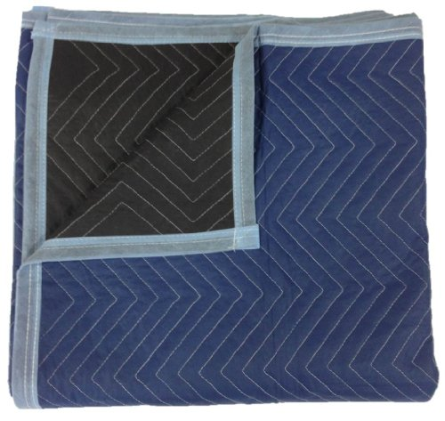 Moving Blankets - Pro Quality - 72 x 80 Inches - Blue & Black - by Cheap Cheap Moving Boxes image