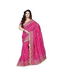 EthnicCrush Pink KANCHI SILK & DUPIAN Saree - B011Y7B1NW