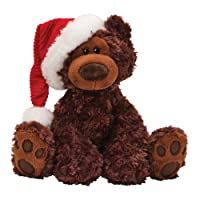 "Gund Fun Christmas Philbin Chocolate Bear 12"" Plush with Santa's Hat by Gund Fun"