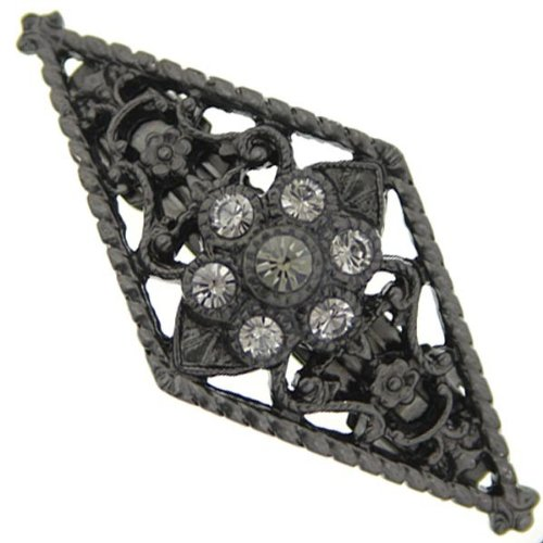 1928 Jewelry Boutique Ebony Black Diamond Gates Hair Barrette Picture