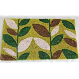 Homescapes - Door Mat - Green Leaves Garden - 45 x75 cm - 100% Natural Coir - Indoor and Outdoor Doormatby Homescapes