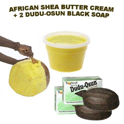 Cheap HalalEveryDay African Shea Butter Cream 16 Oz. (100% Pure & Raw) & DuDu-Osun Black Soap (2 bars)