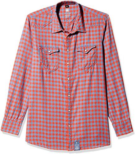 G-Star Tacoma Straight Shirt Wmn-Camicia Donna    Bleu (Medium Aged Check) S