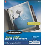 Wilson Jones Heavy Weight Top-Loading Sheet Protectors, Non-Glare, 100/Box (W21413)