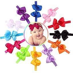 Sannysis 12PC Baby Girls Elastic Bowknot Flower Hairband Photography Headbands
