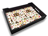 Nutcase Designer Wooden Serving Trays for Kitchen Serving/Dining (13x9) inch - Jet Set Travel