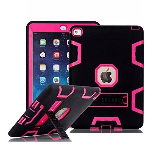 iPad Mini Case, iPad Mini 3 Case, TabPow [Shockproof][Drop Protection][Heavy Duty] Rugged Triple-Layer Defender Hybrid Case Cover With Stand For Apple iPad Mini 1 2 3 (Retina Display) (Hot Pink) (2 Display Stand compare prices)