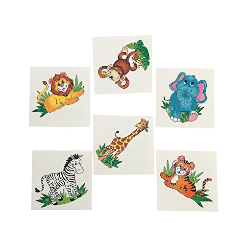 72 Adorable ZOO ANIMAL TATTOOS/Zebra/LION/Elephant/MONKEY/Tiger/GIRAFFE/Safari/JUNGLE/Birthday PARTY FAVORS/6 DOZEN