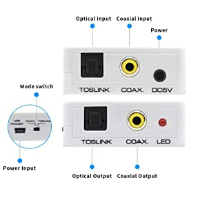 Toslink to Coax Converter SPDIF Loop Coaxial to Optical Audio Adapter Coax Loop Out Digital Two Way Switch Bi-Direction Repeater Splitter