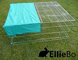 Ellie-Bo Galvanised Rabbit/ Guinea Pig/ Duck/ Chicken Enclosure Run with Roof/ Sunshade, 144 x 116 x 58 cm