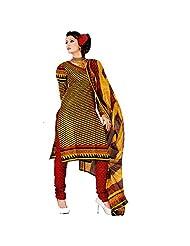 Siddhi Cotton Yellow & Red Printed Salwar Suit & Dupatta Material