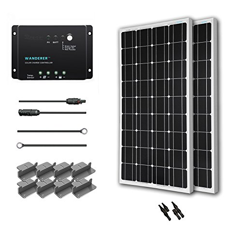 Renogy 200 Watt 12 Volt Monocrystalline Solar Starter Kit with Wanderer (Renogy Solar Panels compare prices)