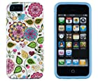 DandyCase 2in1 Hybrid High Impact Hard Colorful Spring Flowers Pattern + Sky Blue Silicone Case Cover For Apple iPhone 5S & iPhone 5 (not 5C) + DandyCase Screen Cleaner