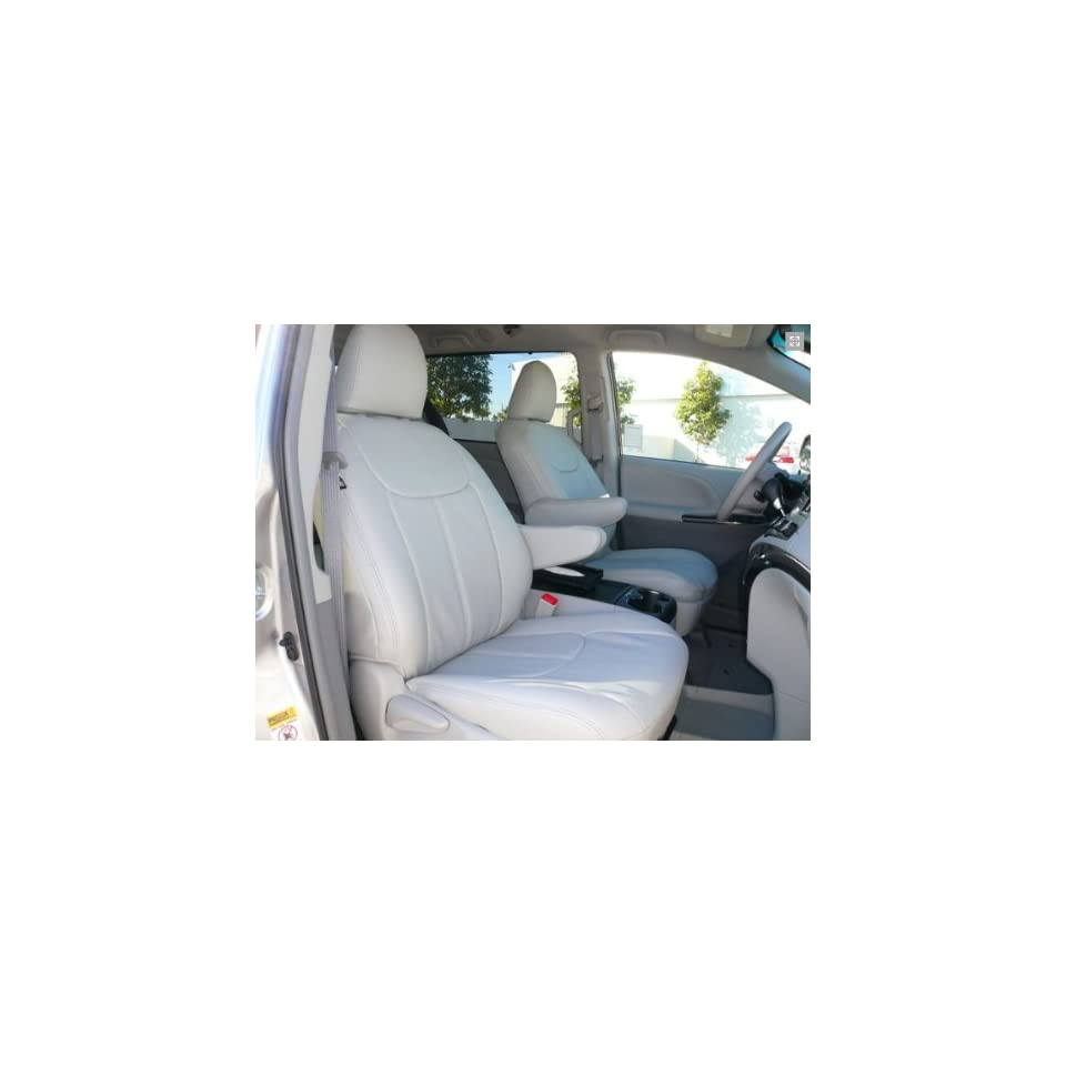 2013 Toyota Sienna LE/SE Clazzio Leather Seat Covers   Beige   Full Set   Front, Rear and Third Row