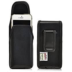 Turtleback Apple iPhone 5 / 5s / 5c Vertical Genuine Leather Holster Pouch with Rotating Metal Belt Clip and Magnetic Closure - Made in USA