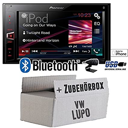 VW Lupo - Pioneer MVH-AV280BT - 2DIN USB Bluetooth Touch - Autoradio - Einbauset