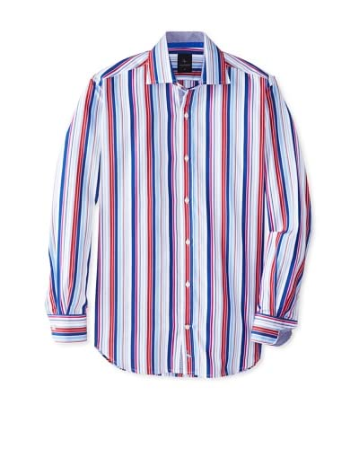 TailorByrd Men's Bandit Long Sleeve Multi Striped Classic Sportshirt