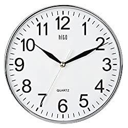 HITO Modern Colorful Silent Non-ticking Wall Clock- 10 Inches (Chrome)
