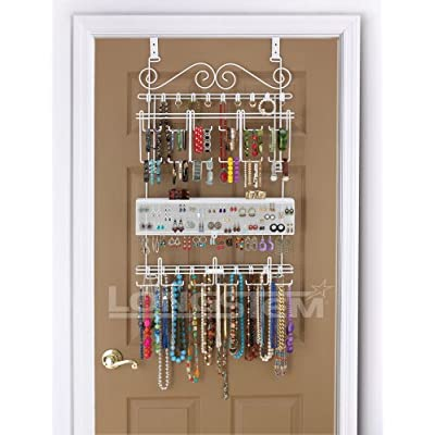 Overdoor/Wall Jewelry Organizer in White By Longstem - Unique patented product - Rated Best: Home & Kitchen