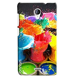 Omnam Paint Bucket With Paint In The Air Desinger Back Cover Case for Micromax Unite 2 A106