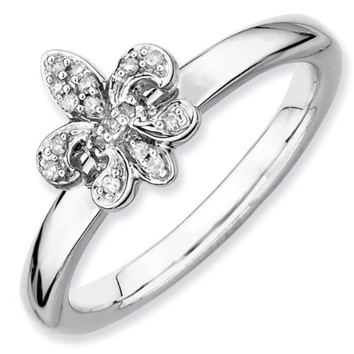 Diamond Fleur di Lis Stackable Ring 1/15ctw - Size 5