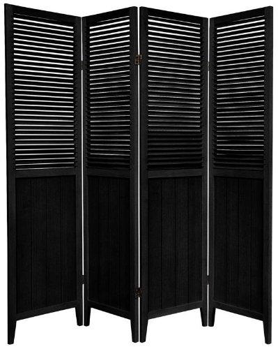 5¼ ft. Tall Beadboard Room Divider - 4 Panel - Black
