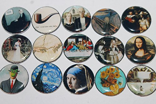 Geocache Refrigerator Magnets - Famous Paintings - Works Of Art Set front-160115