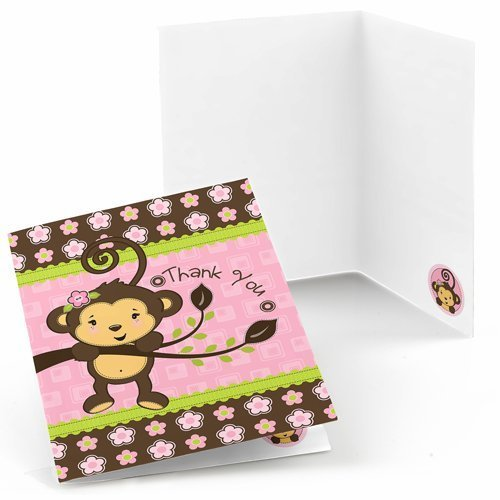 Monkey Girl Thank You Cards (8 count)