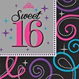 "Elegant Sweet Sixteen Celebration Birthday Party Luncheon Napkins Tableware (16 Pack), Black/Gray, 6 1/2"" x 6 1/2""."