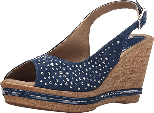 Azura by Spring Step Women's Showtime Wedge Sandal, Navy, 39 EU/8.5 M US (Italian Shoes For Women Wedge compare prices)