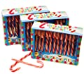 Pack of 3 boxes of 12 peppermint candy canes. 36 x 13cm mint candy canes