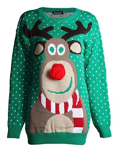 Forever Unisex Rudolph Print Snowflake Knitted Pom Pom Jumper