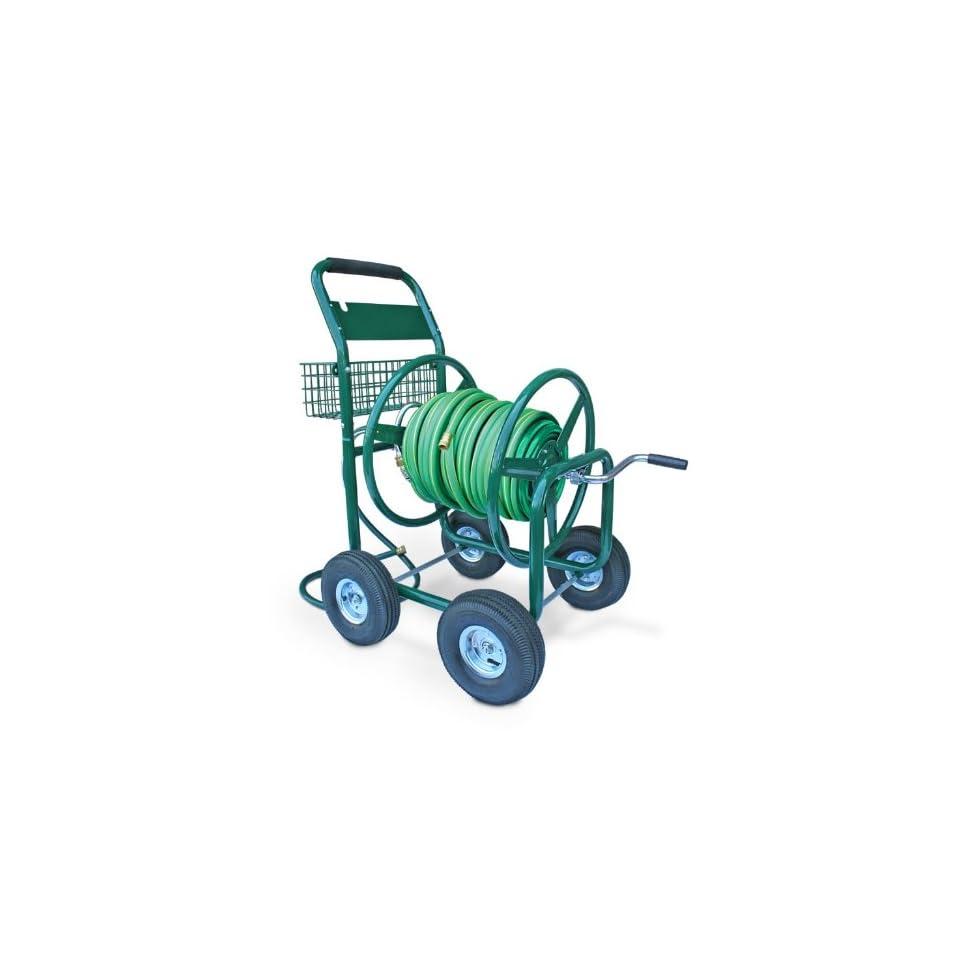 Liberty Garden Products 872 2 Residential 350 Foot Capacity Four Wheel Steel Garden Hose Reel Cart Green