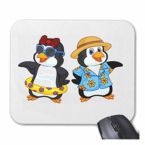 """Mousepad (Mauspad) """"ZWEI VERLIEBTE PINGUINE IM URLAUB MIT HAWAII HEMD UND SCHWIMMRING PINGUINE VOGEL SEEVOGEL SEEVÖGEL PINGUINARTEN"""" für ihren Laptop,"""