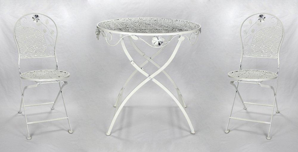 Metall Gartenmöbel weiß / creme Set - Tisch und 2 Stühle