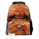 Ibeauti Unisex School Backpack, Large Capacity 3d Vivid Animal Face Print Polyester Backpack (Red Dog)