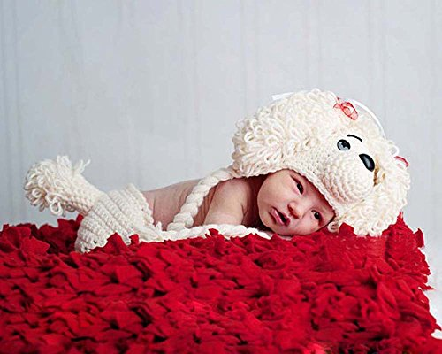 Jastore® Photography Prop Baby Infant Costume Dog Crochet Knitted Hat Diaper