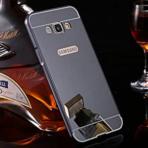 UPPER CASETM Fashion Branded Luxury Metal Bumper Acrylic Mirror Back Cover For Samsung Galaxy A8 - Black Plated