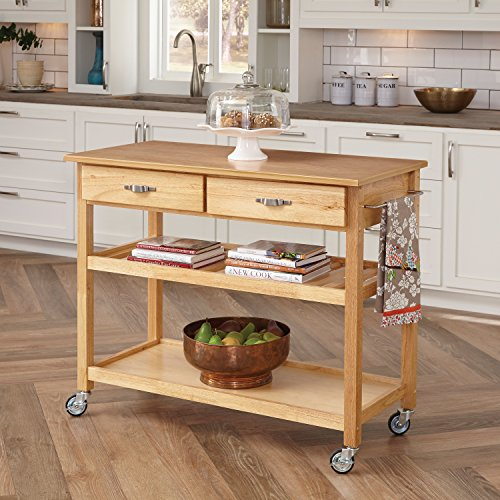 Home Styles 5216-95 Solid Wood Top Kitchen Cart, Natural Finish (Kitchen Island Microwave compare prices)